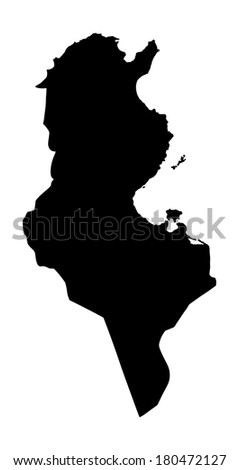 Tunisia vector map silhouette isolated on white background illustration. - stock vector