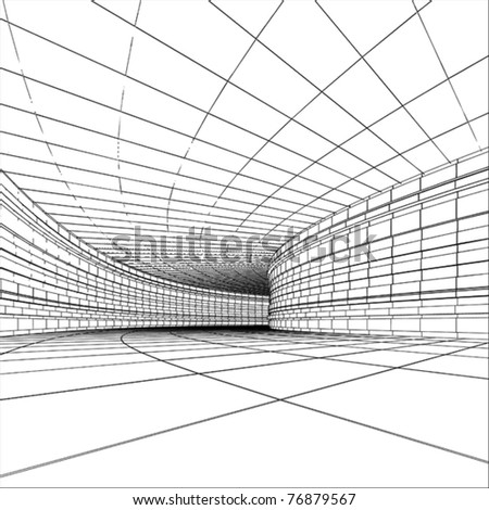 Tunnel - abstract architectural vector construction - stock vector
