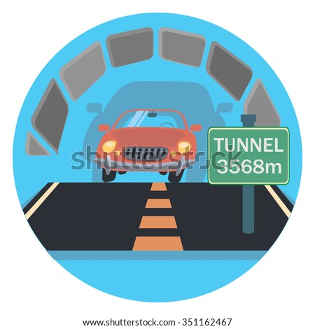 tunnel circle icon with shadow - stock vector
