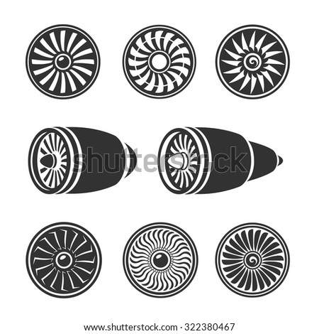 Turbines icons  set, airplane engine silhouettes and  technology aircraft. Vector - stock vector