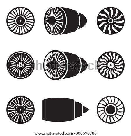 Turbines icons set. Technology aircraft, engine power, blade and fan. Vector illustration - stock vector