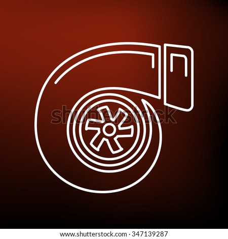 Turbo icon. Turbocharger sign. Vehicle performance part symbol. Thin line icon on red background. Vector illustration. - stock vector