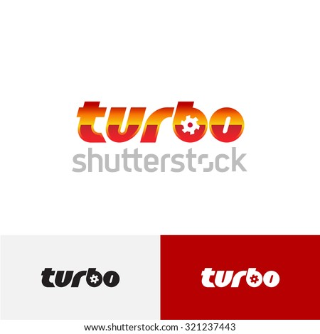 Turbo word text logo with turbine charger fan - stock vector