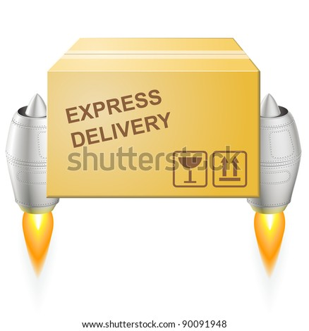 Turbojet express delivery postal box - EPS 8 vector icon - stock vector