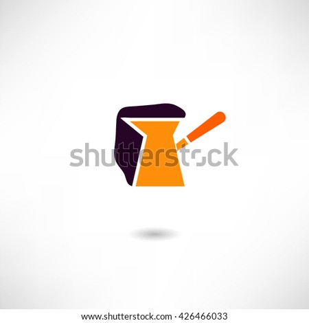 Turk for brewing coffee, coffee maker, vector illustration - stock vector