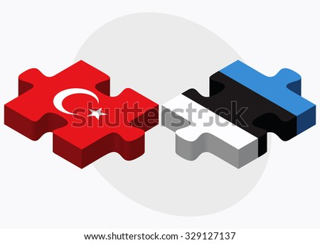 Turkey and Estonia Flags in puzzle isolated on white background - stock vector