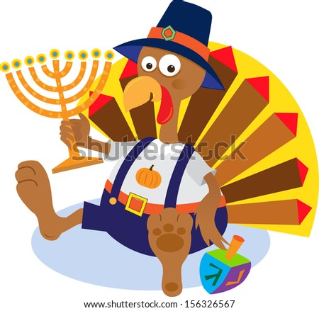 Turkey and Menorah - Cartoon turkey holding a menorah. Eps10 - stock vector