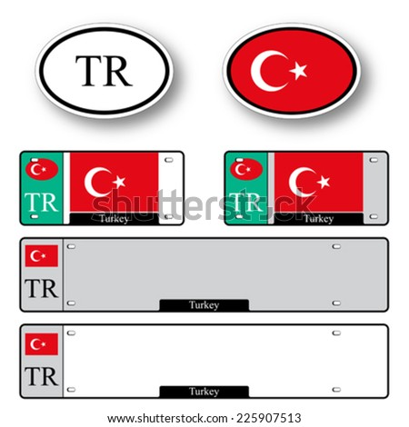 turkey auto set against white background, abstract vector art illustration, image contains transparency - stock vector