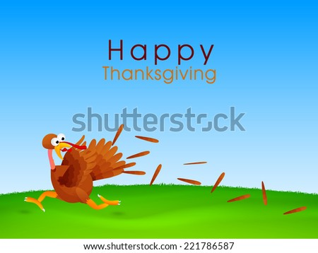 Turkey bird running in fear, Creative concept for Happy Thanksgiving Day celebrations.  - stock vector