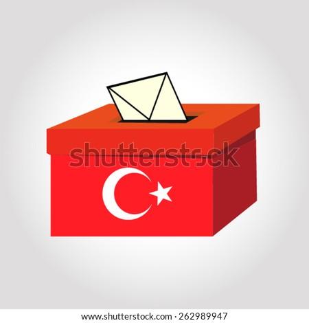 Turkey election ballot box for collecting votes - stock vector
