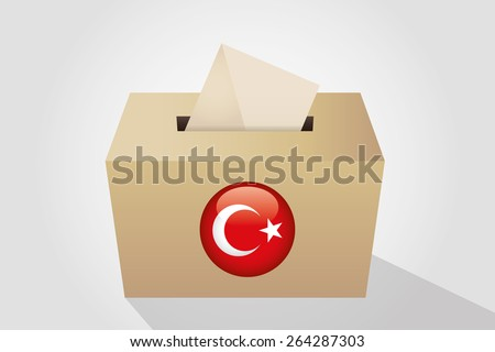 Turkey election ballot box for collecting votes, white background - stock vector