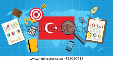 turkey europe economy economic condition country with graph chart and finance tools vector graphic illustration - stock vector