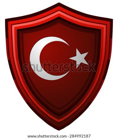 Turkey Flag on a Glossy Red Shield, Vector Illustration isolated on White Background. - stock vector