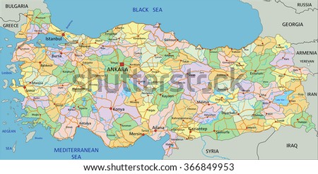 Turkey - Highly detailed editable political map with labeling. - stock vector