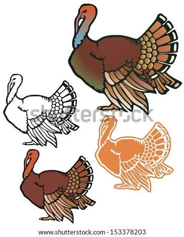 Turkey in full color, non-gradient, black outline, and reverse for printing on dark backgrounds - stock vector