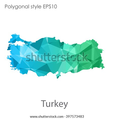 Turkey map in geometric polygonal style.Abstract gems triangle,modern design background. - stock vector