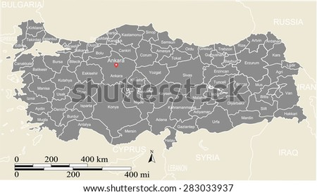 Turkey map vector, Turkey map outlines in grey background with boundaries or polygons of provinces, capital location and name, Ankara, and mileage and kilometer scales, for science and publication use - stock vector