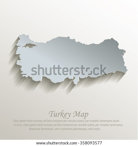 Turkey map white blue card paper 3D vector - stock vector