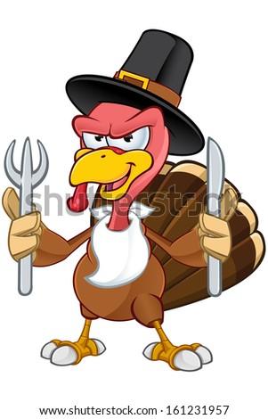 Turkey Mascot - Holding A Knife & Fork - stock vector