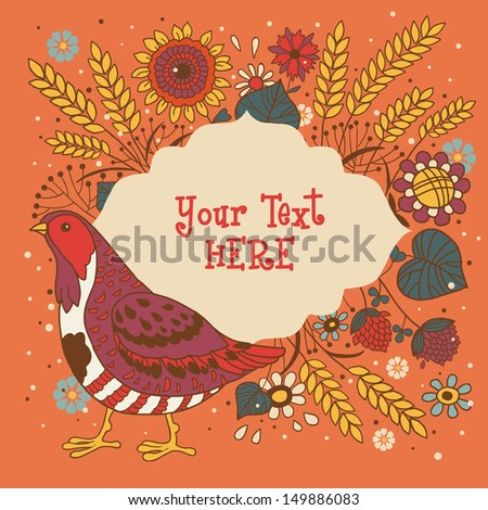 Turkey Quail Thanksgiving card.Floral background,spring theme, greeting card. Template design can be used for packaging,invitations,Thanksgiving Day decoration,Birthday,bag template,cup and etc. - stock vector