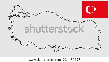 Turkey vector map contour and vector flag silhouette, high detailed illustration. Original and simple Turkey flag isolated vector in official colors and Proportion Correctly.  - stock vector