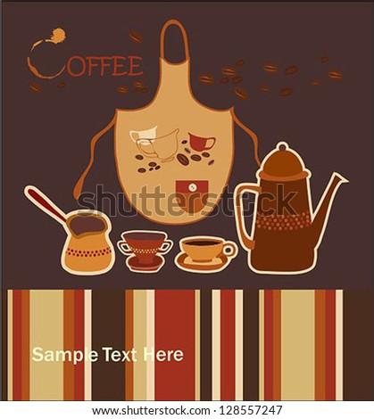Turkish Coffee card - stock vector