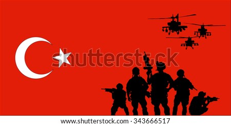 turkish soldier with helicopters on the turkish flag background - stock vector