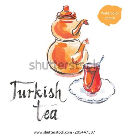 Turkish tea with turkish kettle, watercolor, hand drawn, vector - stock vector
