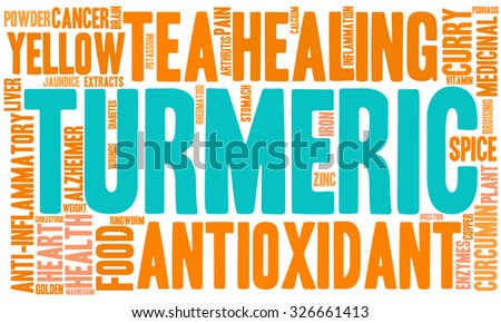 Turmeric word cloud on a white background. - stock vector