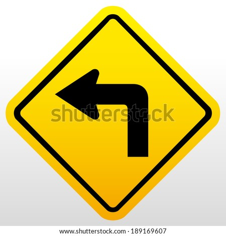 Turn left at the sign - stock vector