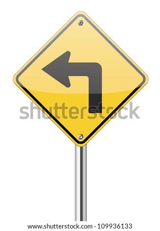 Turn left traffic sign on white - stock vector