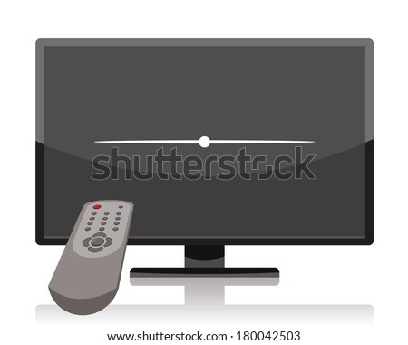 turn off tv, lcd television set turned off by remote control  - stock vector
