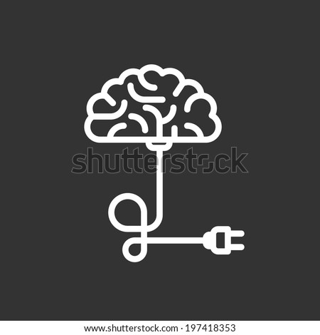Turn on your brain - put a plug into a socket - stock vector