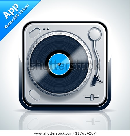 Turntable musical app icon. Vector illustration. - stock vector