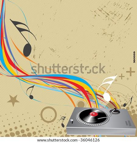 Turntable on grunge-rainbow wave lien background - stock vector