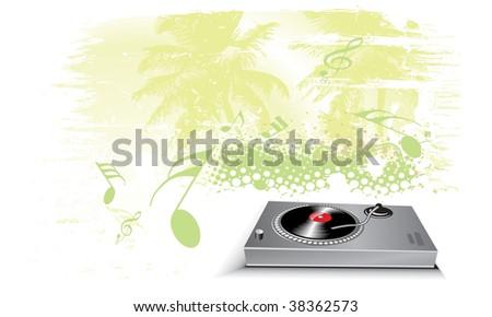 Turntable on grunge urban wave lien background - stock vector