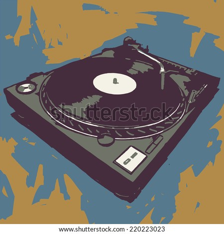 Turntable vector graphic illustration - stock vector