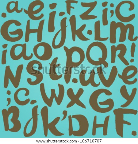 Turquoise background with handwritten grunge letters - stock vector