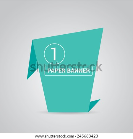 turquoise origami paper speech bubble or web banner .vector illustration - stock vector