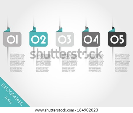 turquoise origami rounded square stickers. infographic concept. - stock vector