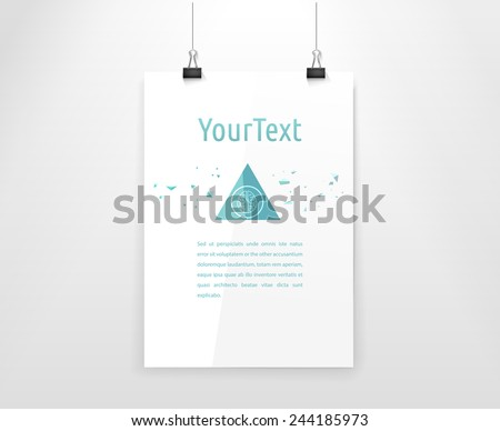 Turquoise Pyramid Shape Meteorite Vector Illustration on an A4 Format Placard Paper Sheet. Scalable Isolated EPS10 Graphics - stock vector