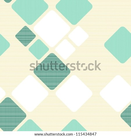 turquoise squares on light beige retro seamless pattern - stock vector