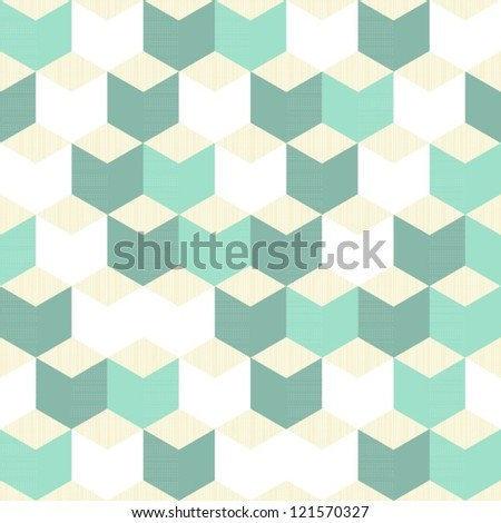 turquoise white beige regular cubes retro traditional geometric pattern - stock vector