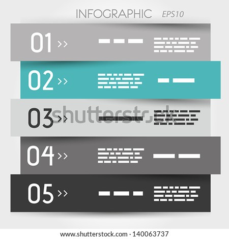 turquoise zig zag five options. infographic concept. - stock vector