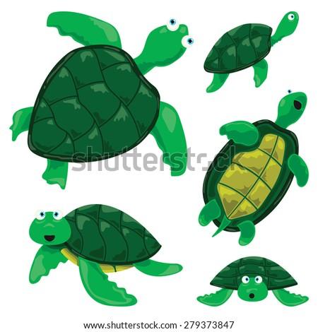 Turtle Cartoons - stock vector