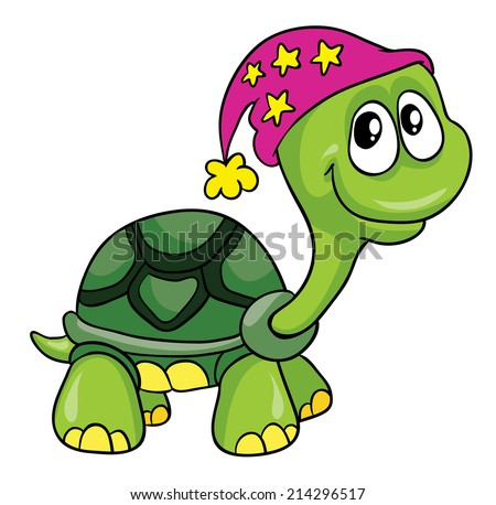 turtle in the bell, vector illustration on white background - stock vector