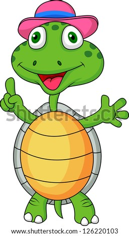 Turtle with thumb up - stock vector
