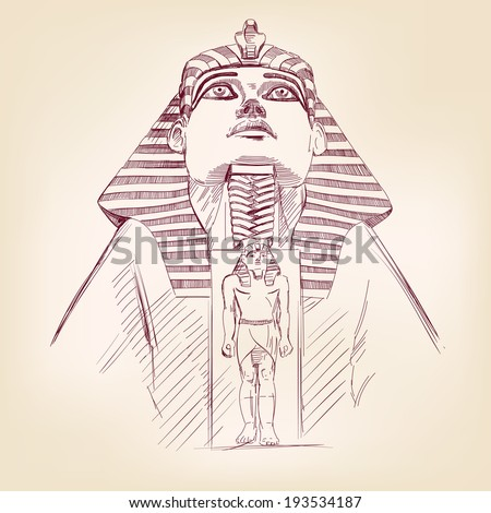 Tutankhamun Egyptian Pharaoh hand drawn vector llustration realistic sketch - stock vector
