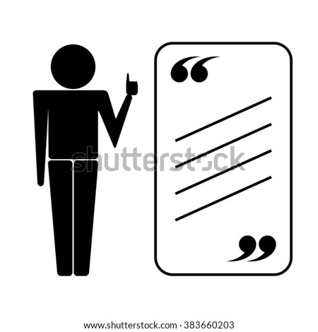 Tutor or teacher icon with quote. Vector isolated on white. Quote icon. Quote icon with human silhouette. Comment icon. Quote element icon. Quote Icon Object. Quote Icon Image. Quote Icon Picture. - stock vector