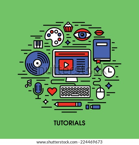 Tutorials flat line icons. Creative design elements  - stock vector